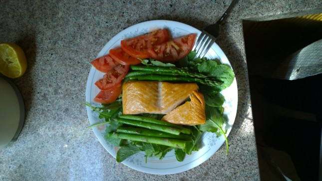 My usual lunch. Simple but good, and I was not harmed making it.